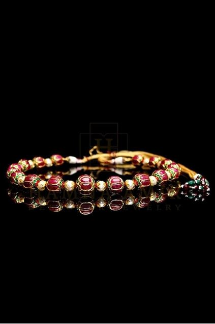 Picture of Enameled Jaipuri Mala with Ruby and Pearls