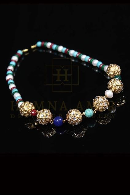 Picture of Gold Ball Mala Encrusted with Zircons and Multi Colored Stones