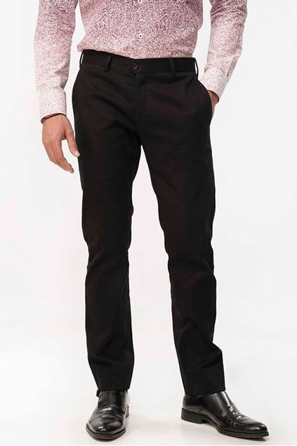 Picture of Solid Black Cotton Chinos