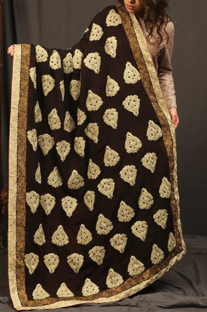 Picture of Black Golden Motifs Shawl