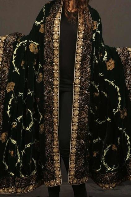 Picture of Black Golden Floral Shawl