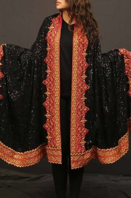 Picture of Black Pink Yellow Border Shawl