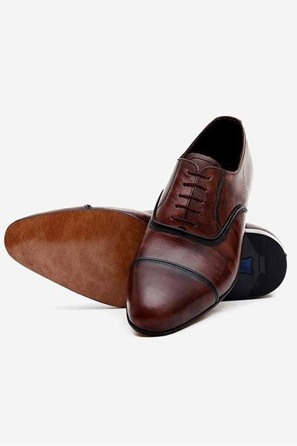 Footprint - Brown Formal Leather Semi Brogue Lace Up