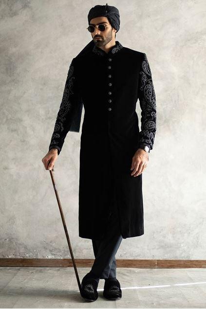 Picture of Black Velvet Short Length Sherwani