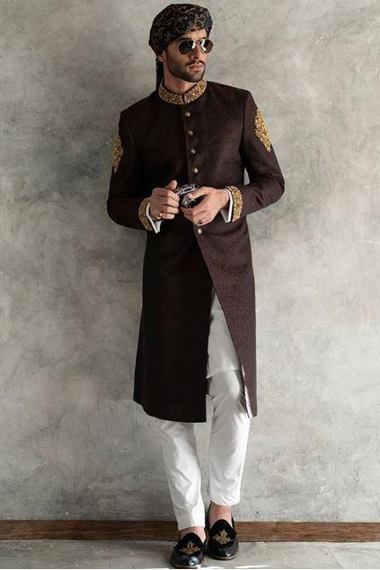 Picture of Brownish Maroon Karandi Jamawar Sherwani