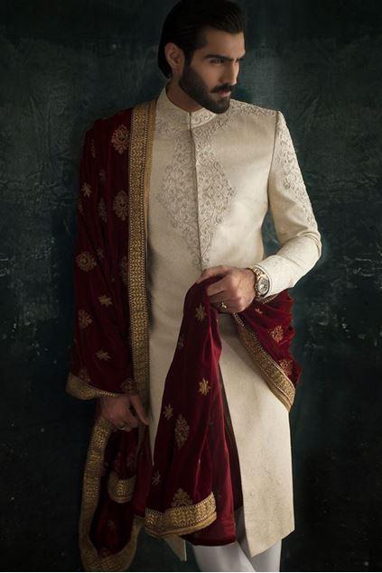 Picture of Golden Jamawar Sherwani