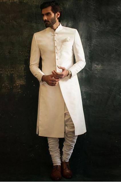 Picture of Classic Off White Raw Silk Sherwani
