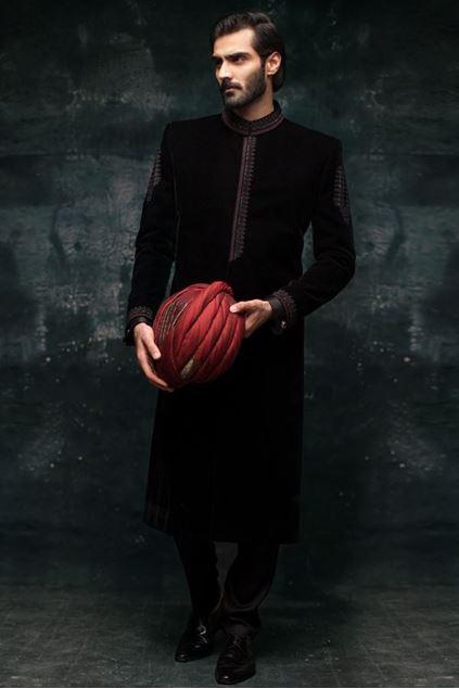 Picture of Black Velvet Sherwani
