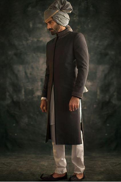 Picture of Blue Jamawar Sherwani