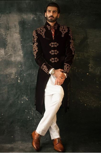 Picture of Deep Maroon Velvet Embroidered Sherwani