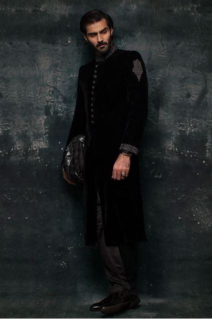 Picture of Black Velvet Embroidered Sherwani