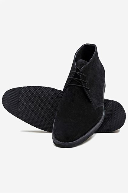 Black Suede Leather Lace-up Boots
