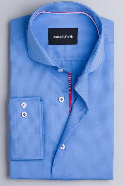 Picture of Blue Check Textured Weave Shirt