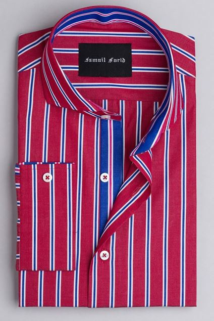 Picture of Red-Blue Multi-Stripe Spread Collar Shirt