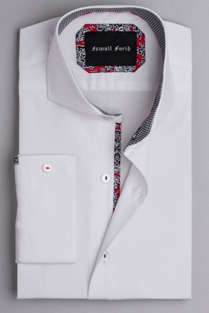 Picture of White Smart Casual Shirt Houndstooth Detail