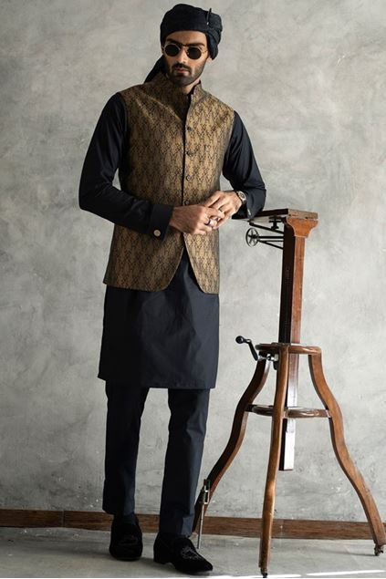 Picture of Antique Dull Gold Jamawar Waistcoat