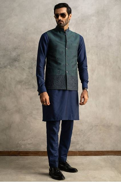 Picture of Dark Torquise Embroidered Waistcoat