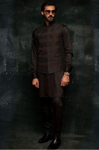 Picture of Black Rawsilk Waistcoat