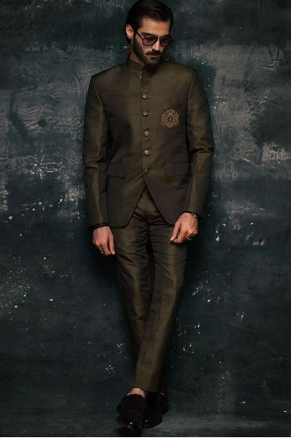 Picture of Dark Olive Green Raw Silk Prince Coat
