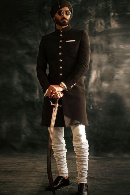 Picture of Black Raw Silk Short Length Sherwani