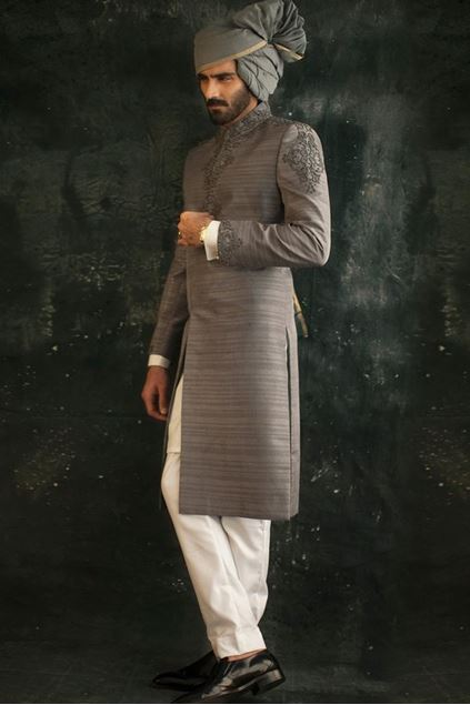 Picture of Grey Raw Silk Sherwani