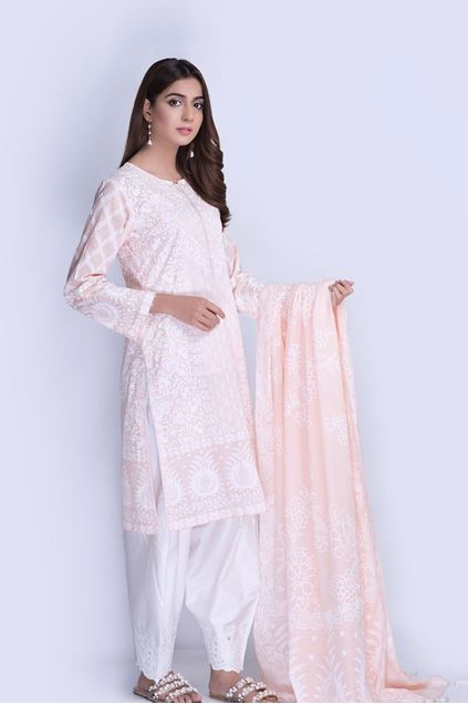 Picture of Peach Printed Shirt And Dupatta