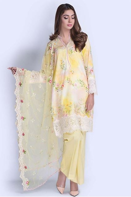 Picture of Yellow Digital & Embroidered Suit