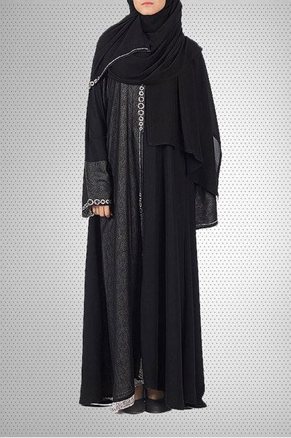 Picture of Black Chiffon & Satin Abaya 0121-RC-758