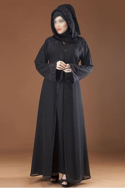 Picture of Black Double Brest Style Designer Abaya for Women 0122-RC-887