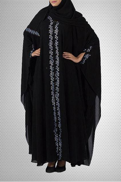 Picture of Black Chiffon & Polyester Abaya Jilbab-BC-872 (1)