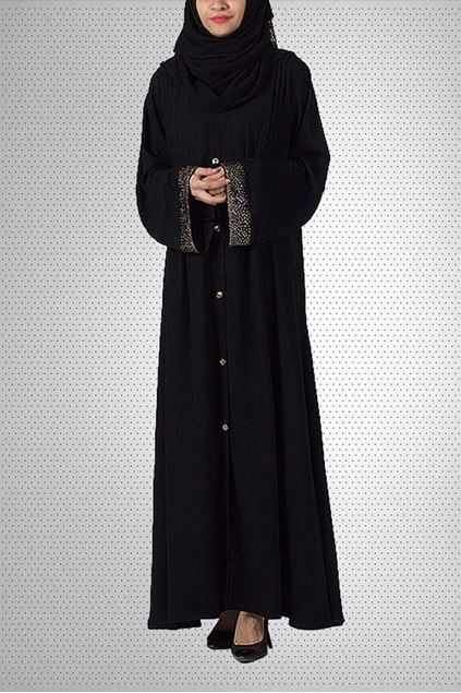 Picture of Black Nida & Polyester Abaya 0121-C-757
