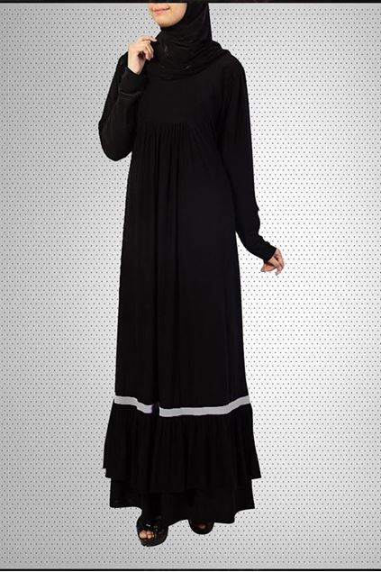 Picture of Black Pull Over Front Close Jersey Abaya 0120-RA-84