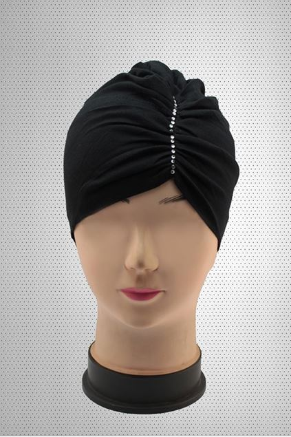 Picture of Black Side Parting Hijab Cap Stone