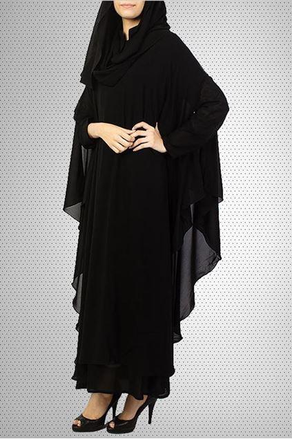 Picture of Black Wool Chiffon Front Close Designer Abaya JILBAB-C (2)
