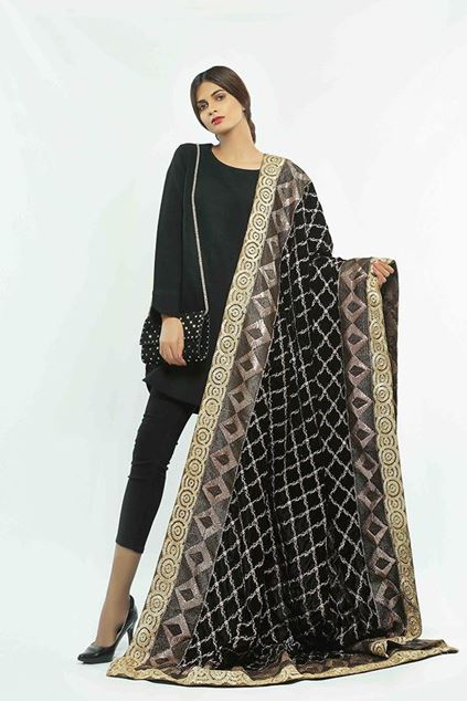 Picture of Black Pattern Velvet Shawl