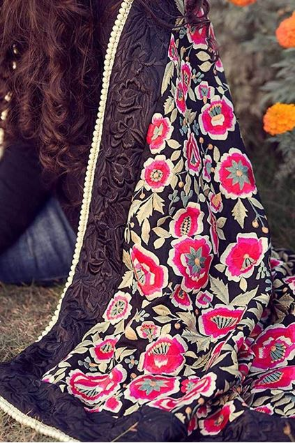 Picture of Black Pink Floral Shawl