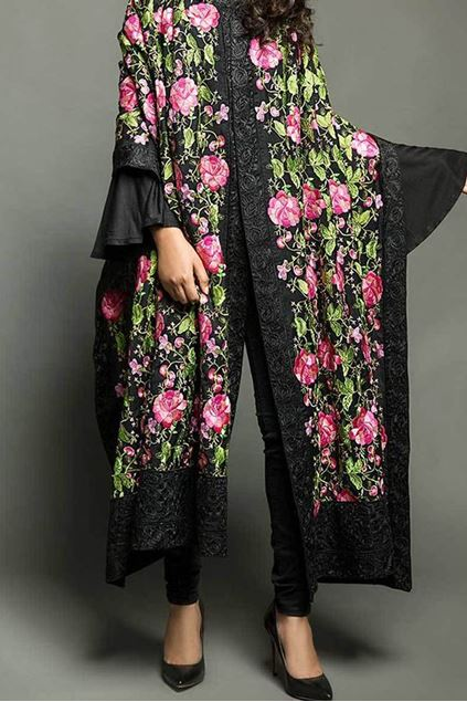 Picture of Black Floral Shawl