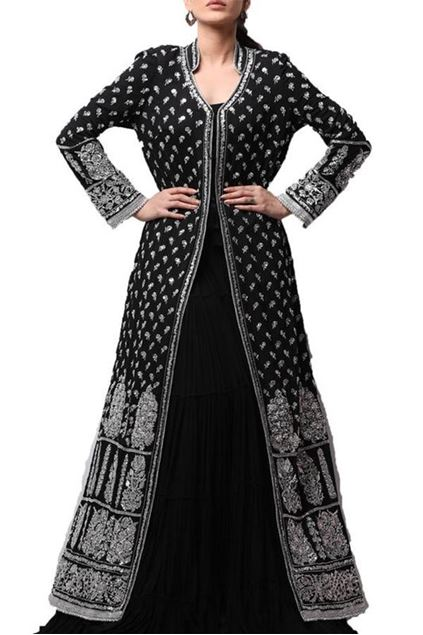 Picture of Black Cotton Georgette Long Coat