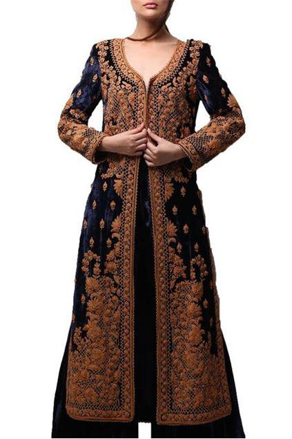 Picture of Long A-Line Velvet Coat