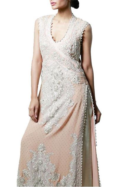 Picture of Off-White Sleeveless Long Dress With Aree-Work