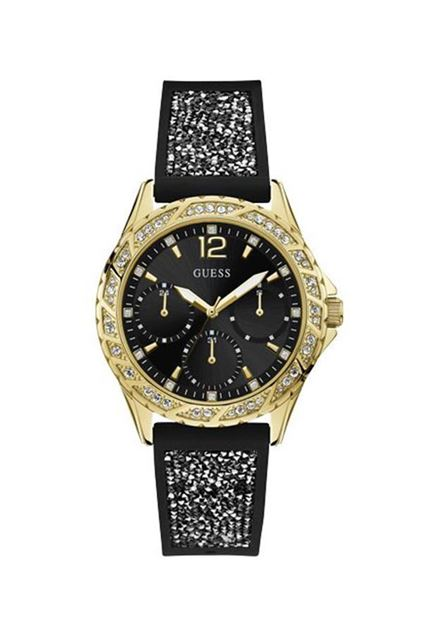 Picture of Guess Womens Black Glitter Silicone Strap