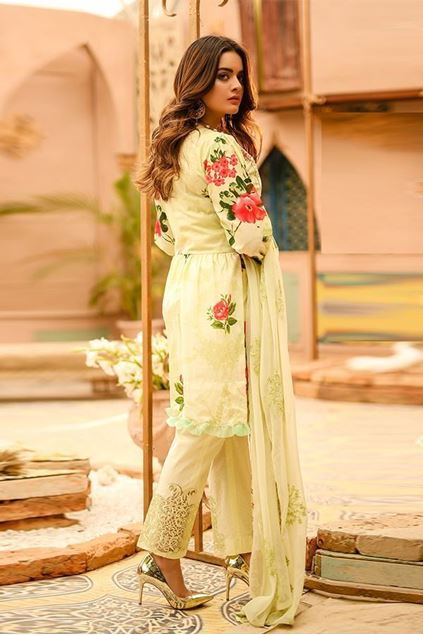 Picture of Un-Stitched Green Color Festive Printed Lawn Suit