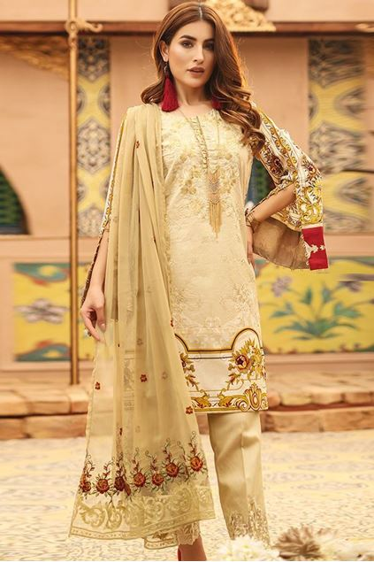 Picture of Un-Stitched Green Printed Lawn with Embroidered Shirt