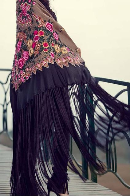 Picture of Black Pink Floral Cape