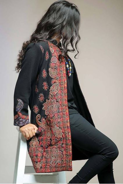 Picture of Woolen Coat with Kani Applique