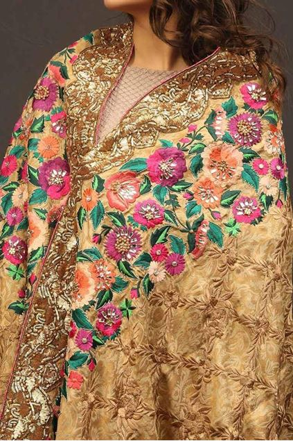Picture of Gold Pink Floral Border Shawl
