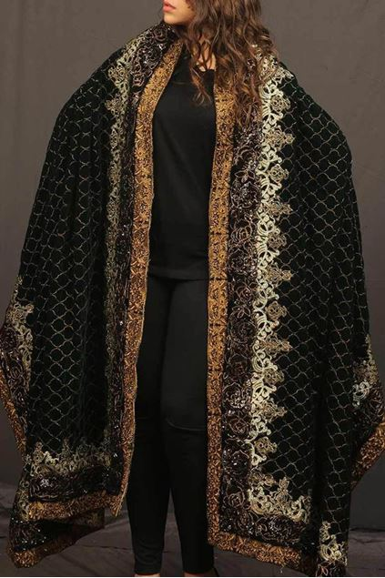 Picture of Black Gold Bronze Border Shawl