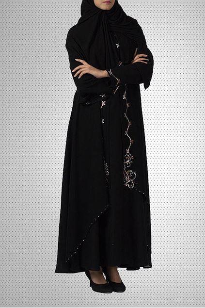 Picture of Black Chiffon & Polyester Abaya 0122-C-746