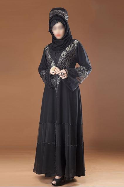 Picture of Black Chiffon Fabric Designered Abaya 0121-RC-826