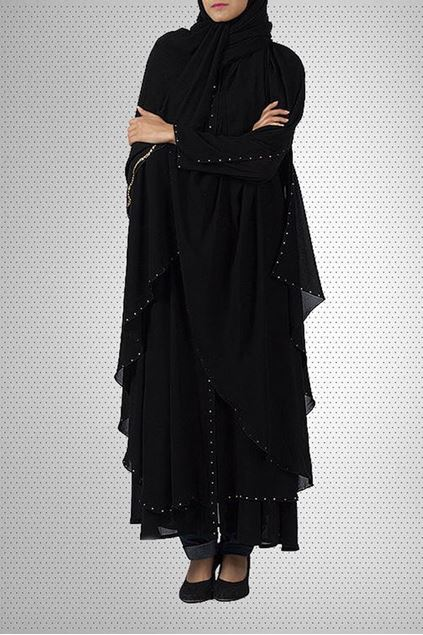 Picture of Black Chiffon & Polyester Abaya Jilbab-C-756 (1)